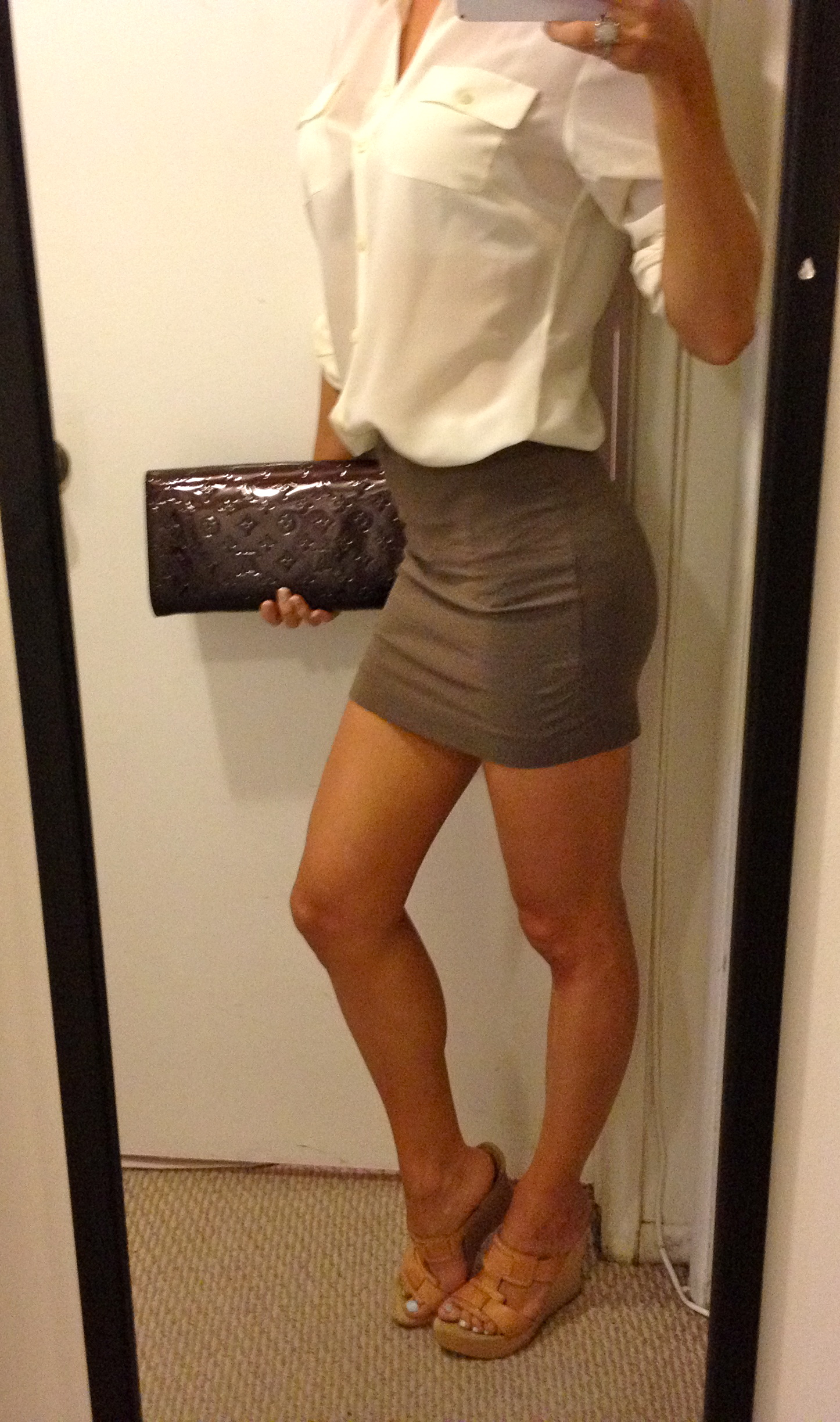 Hot blonde short skirt